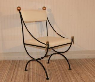 Vintage Italian Neoclassical Directoire Iron W Brass Swans X Form Accent Chair photo