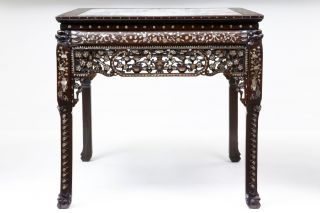 19th Century Antique Chinese Huanghuali Wood And Mother Of Pearl Centre Table photo