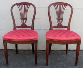 Pair Of Antique English George Iii Mahogany Side Chairs Circa 1810 photo