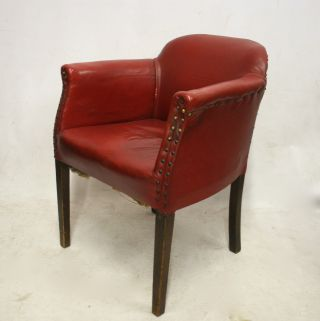 Art Deco Tub Chair Armchair 1930s Red Leatherette photo