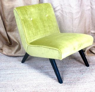 Mid Century Modern 1950s Chartreuse Mohair Black Lacquer Slipper Chair photo