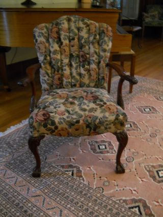 Antique Victorian Carved Arm Chair - Upholstered photo