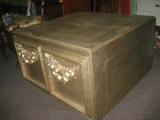 Hollywood Regency Silver End Table Cabinet photo