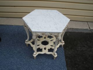 46952 Hexagonal Marble Top Lamp Table Stand Quality photo
