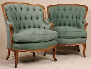 Pair Of French Louis Xv Antique Tufted Barrel Or Wing Back Bergere Arm Chairs photo