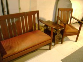 Antique Mission Couch And Chair Set