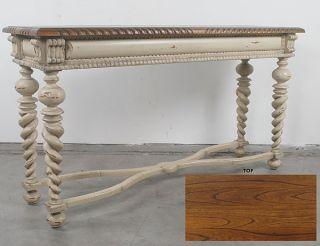 Stunning Vintage Style Lorraine Parchment Console Table,  63.  5  Long. photo