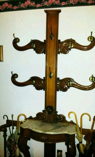 Antique Victorian Umbrella Stand Coat Rack Carved Mahogany Marble Shelf Drawer photo