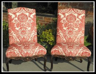 Pair Huge Antique Carved Italian Renaissance Chairs Scalamandre Luca Red photo