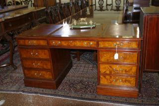 Great Burled Walnut Leather Top Executive English Desk W File Drawers Custom photo
