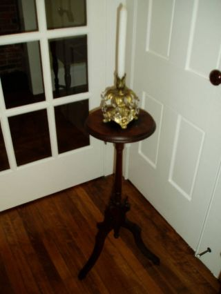 Sweet Antique Victorian Candle Stand W/embelishments photo