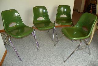 Lot Set 4 Vtg Green Krueger Fiberglass Shell Chair Retro Eames Era 60s 70s photo