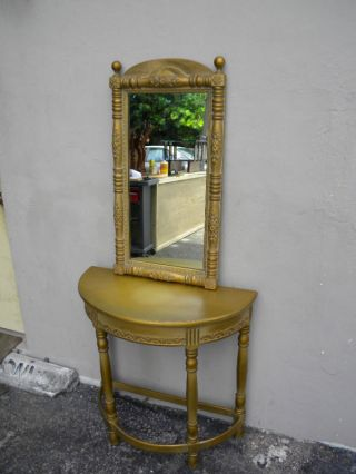 Mid Century Half - Moon Console Table With Mirror Painted In Antique Gold 998 photo
