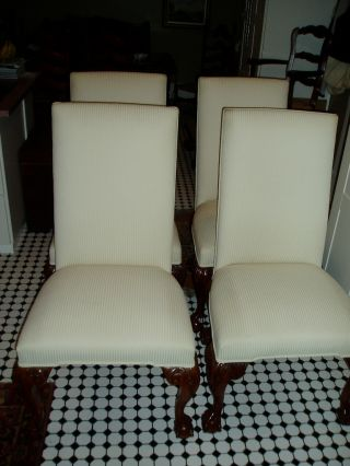 Set Of 4 Massive Carved Chippendale Grandfather Chairs photo
