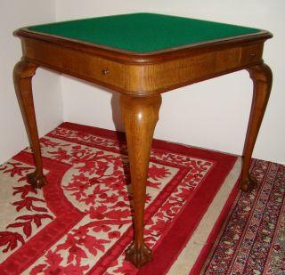 Rare Signed Portois & Fix Oak Game Table With Eagle Claw Feet photo