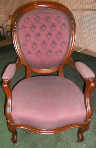 Antique Victorian 1800 Button Back Armchair Wing Back Chair New Fabric Carved Wd photo