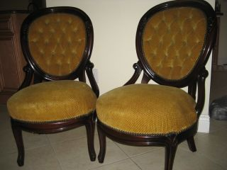 Antique French Pair Chairs Rosewood Rococo Handcarved Ornate Decor Tufted Back photo