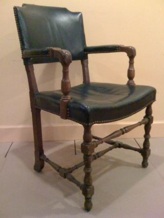 C.  1920 Green Leather Studded Antique Armchair photo