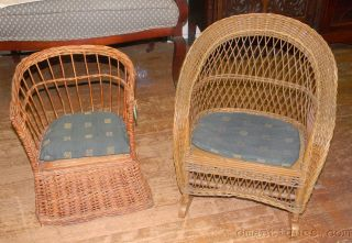 Antique Victorian Wicker Wood Child ' S Rocking & Potty Chairs photo