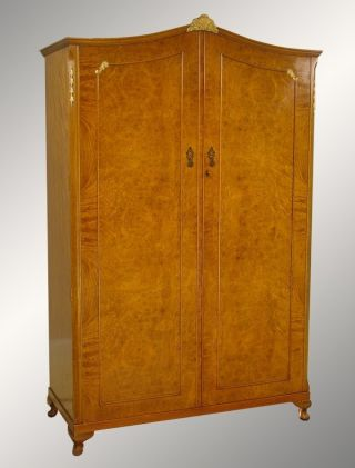 14946 Antique Carved Burl Walnut Two - Door Wardrobe photo