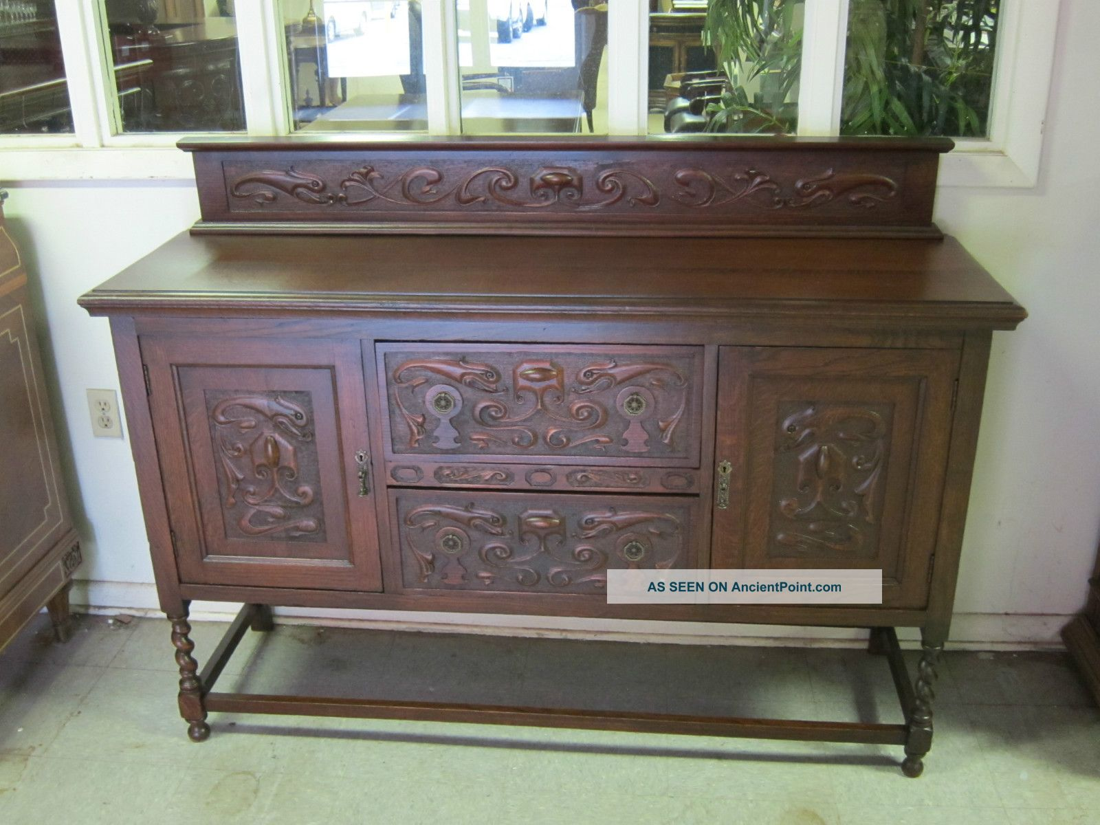 Antique English Tiger Oak Barley Twist Sideboard Carved Accents 1900-1950 photo