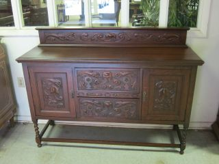 Antique English Tiger Oak Barley Twist Sideboard Carved Accents photo