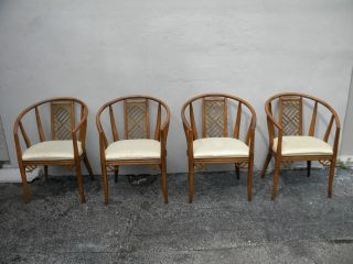 Set Of Four Hollywood Regency Barrel - Shape Chairs By Thomasville 2688 photo