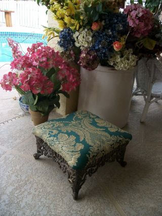 Vintage Fancy Ornate Victorian Style Cast Metal Foot Stool Ottoman Home Decor photo