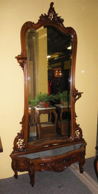 French Louis Xv Hall Mirror With Planter 19th Century photo