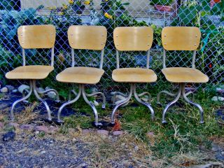 Machine Age Industrial Office Task Chairs Stool Steampunk (set Of Four) photo