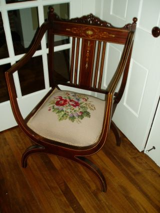 Gorgeous Antique Carved Victorian Parlour Chair W/mop And Marquetry Inlay photo
