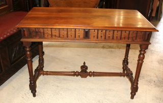 Lovely French Antique Henry Ii Writing Desk.  Made From Walnut. photo