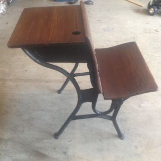Vintage Wooden School Desk With Metal Legs 1800s Piece photo