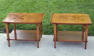 Pair Lane Side Tables With Flower Sun Inlay Lipped Edge Great Danish Mid Century photo