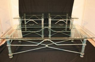 3 Pc Diego Giacometti Style Patinated Iron & Glass Coffee Table Set W End Tables photo