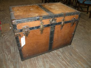 Antique Flat Top Steamer Travelers Trunk Luggage Canvas Chest photo