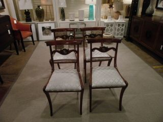 4 Antique English Regency Style Rosewood Dining Side Chairs Reduced photo