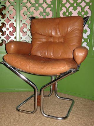 Mid Century Danish Modern Ingmar Relling Chrome Rosewood Westnofa Sling Chair photo