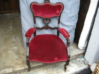 Pair Of Antique French Style English Mahogany Arm Chair With Fabric photo