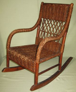 Antique Childs Youth Rocker Woven Seat Back Wood Frame Wrapped Finish photo