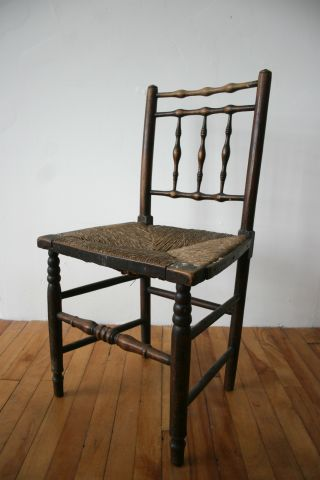 Antique Victorian Chair Oak Dining Rush Seat Rustic Farmhouse No.  2 photo