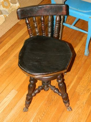 Antique Victorian Piano Stool Bench Swivel Back,  Claw Foot Feet Black 26