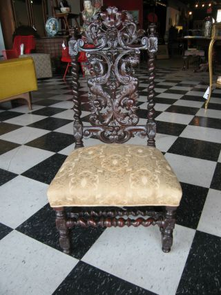 Antique 19th Century Carved Child ' S Chair Property Of Mrs J.  Amory Haskell photo