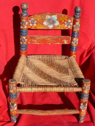 Vintage Primitive Folk Art Stencil Small Child ' S Chair photo