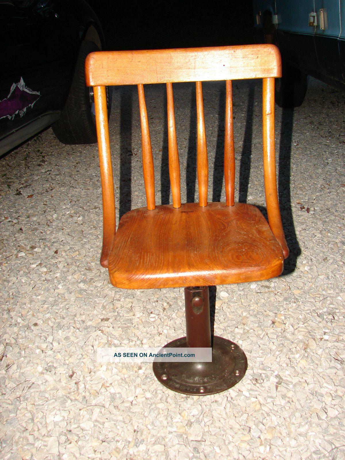 Antique Childs Oak Desk Chair Boston Adjule Co Pat 1889 4