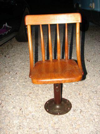 Antique Childs Oak Desk Chair Boston Adjustable Chair & Desk Co.  Pat 1889 4 photo