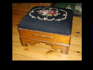 Antique Victorian Needlepoint Footstool Foot Stool Square Cut photo