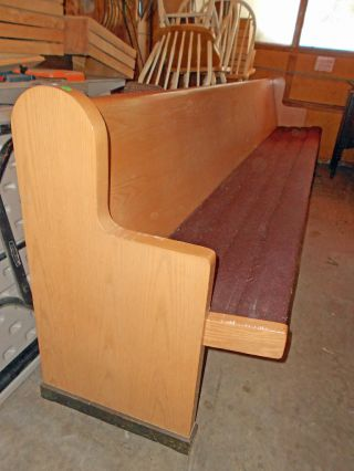 Mid Century Modern Maple Church Pew W/ Seat Pad 10 ' - 10
