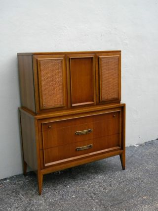 Mid - Century Chest / Armoire With Caning By Century 2311 photo