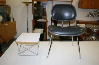 Vintage 1960 ' S Signed Herman Miller Eames Dcm Black Vinyl Dining Chair photo